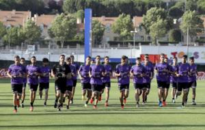 La plantilla del Valladolid en un entrenamiento de esta temporada.