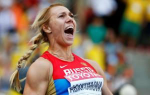 Maria Abakumova, en el campeonato de Atletismo de Mosc� en el 2013