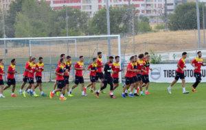 Un entrenamiento del Getafe en la Ciudad Deportiva del municipio