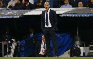 Zidane durante el encuentro ante el Sporting