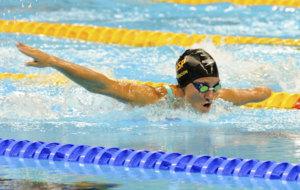 Sarai Gascón en la prueba de 100 metros mariposa en Río