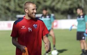 Un sonriente Samu S�iz durante un entrenamiento pasado del Huesca