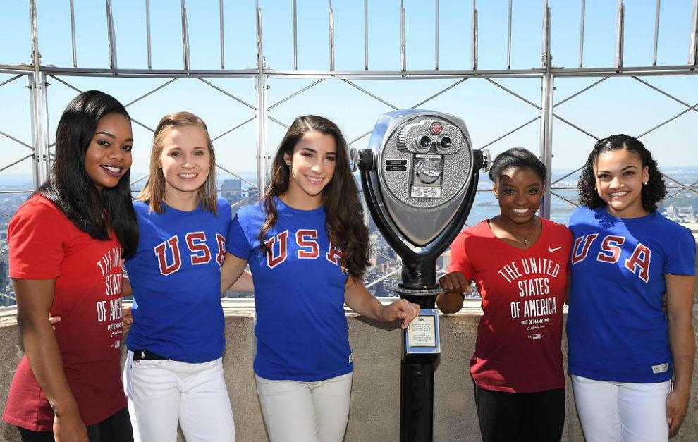 Las gimnastas del equipo olímpico estadounidense, este agosto en el...