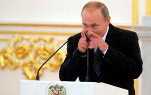 Vladimir Putin, durante la reciente recepci�n a los medallistas rusos...