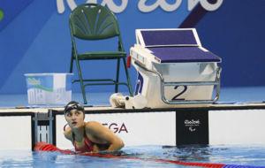 María Delgado, tras la final de los 50 metros libres.