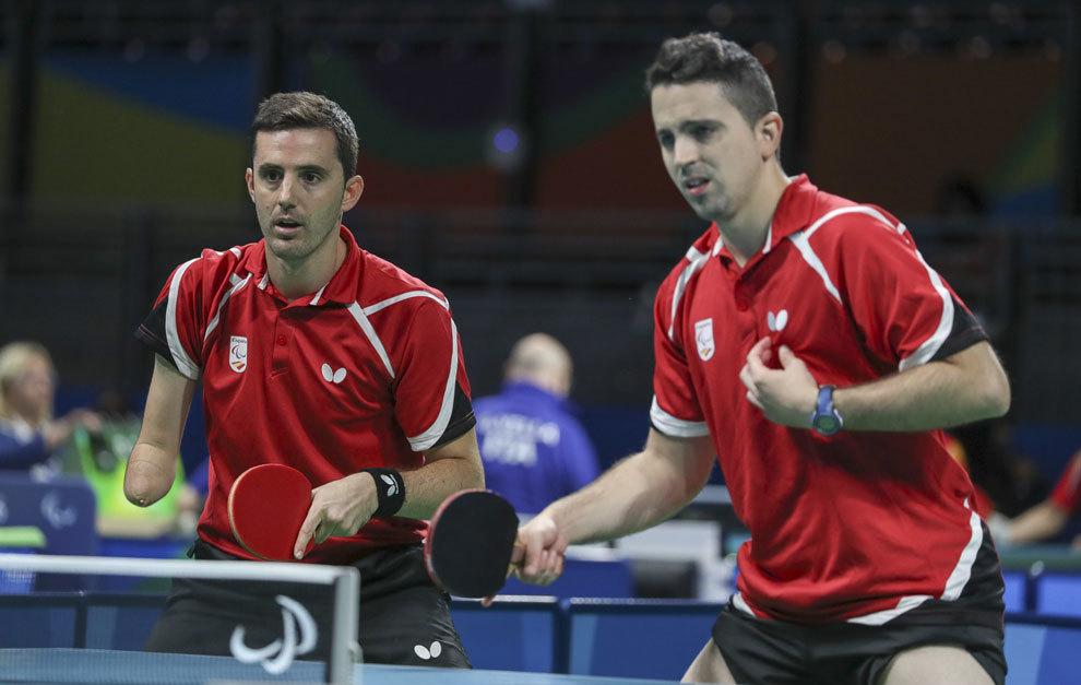 José Manuel Ruiz y Jorge Cardona durante un partido de dobles en Río
