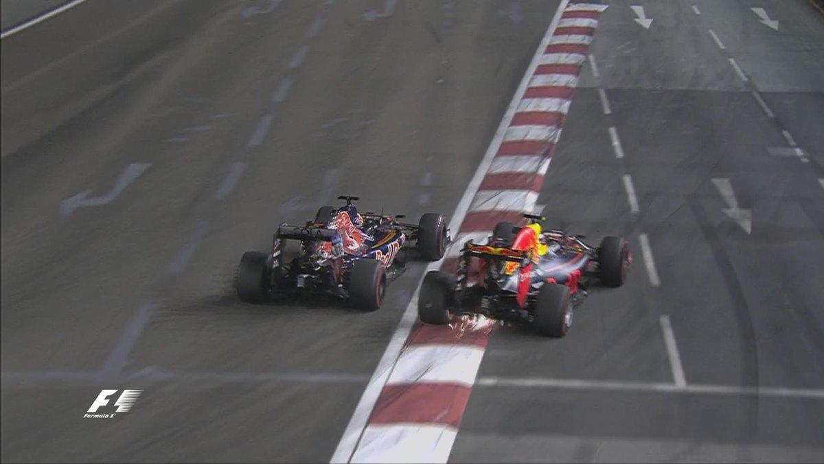 Kvyat defendiendo su plaza, echa de la pista a Verstappen