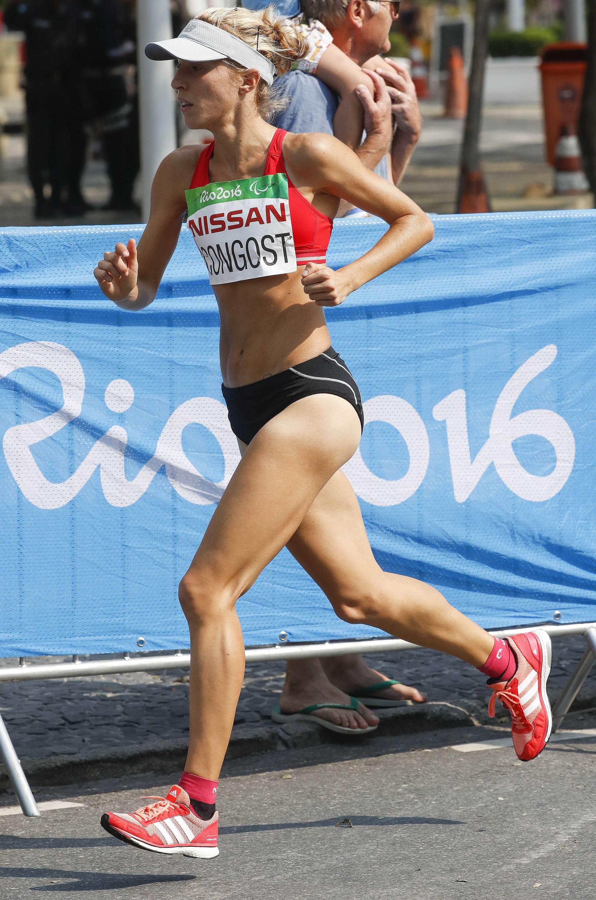 Elena Congost durante el maratón de los Juegos Paralímpicos de Río