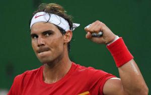 Rafael Nadal, en un momento de la reciente eliminatoria de Copa Davis...