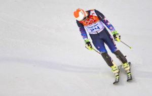 Bode Miller, tras su actuaci�n en el Super G de Sochi 2014.