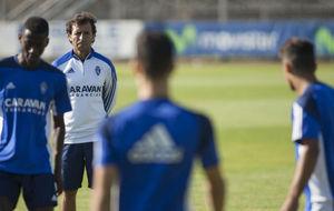 Milla durante un entrenamiento con el Real Zaragoza.
