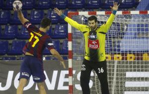 Rodrigo Corrales, en un partido contra el Barcelona en la Champions...
