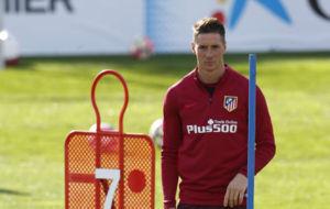 Torres (32) en un entrenamiento con el Atl�tico.