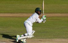 Bavuma plays a shot in a Test Match between South Africa and New...