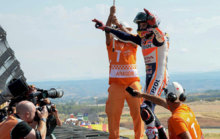 Marquez after winning the race at MotorLand Arag�n.