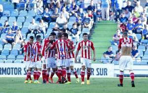 Los jugadores del Girona celebran uno de los 'tres' goles...