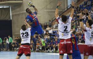 Jugador del Barcelona en el partido contra Naturhouse La Rioja