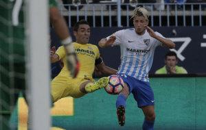 Keko en el partido entre M�laga y Villarreal