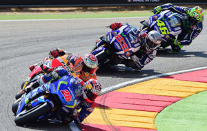 Maverick Vi�ales, liderando ante M�rquez, Lorenzo y Rossi