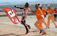 Tras pasar a Rossi, M�rquez celebr� por todo lo alto su gran...