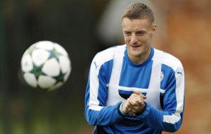 Vardy, durante el entrenamiento del Leicester.
