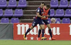 Camacho celebra su gol durante el partido en Valladolid del s�bado
