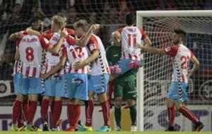 La plantilla del Lugo en la victoria ante el Valladolid.