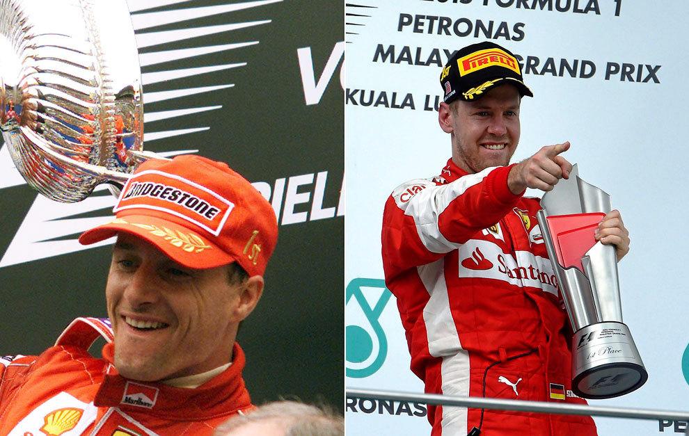 Irvine celebrando una victoria en 1999 y Vettel en Sepang 2015