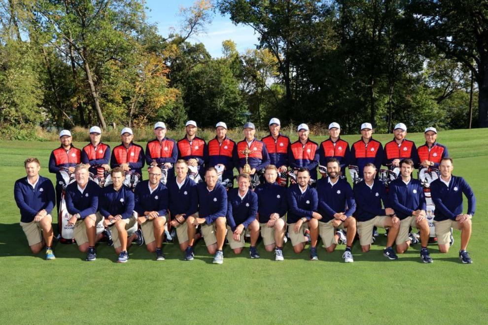 El equipo americano, durante la sesión de fotos en el Hazeltine...