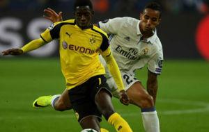 Danilo en el partido de Champions ante el Dortmund