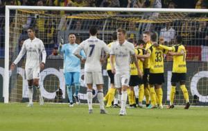 Borussia Dortmund's players celebrating after scoring against...