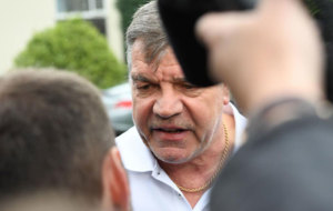 Sam Allardyce talking to the media after being sacked as England...