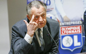Jean-Michel Aulas, Chairman of Olympique Lyon, attends a media...