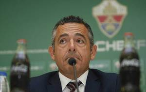 Diego Garc�a, presidente del Elche, durante una comparecencia ante la...