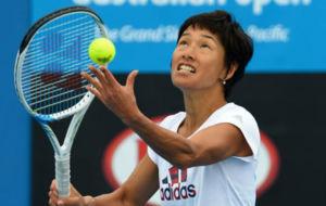 Kimiko Date durante un entrenamiento en Australia.