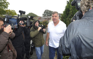 Former England football manager Sam Allardyce speaks to media.