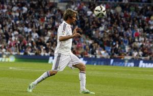 Coentrao en un partido del Madrid en la 14-15