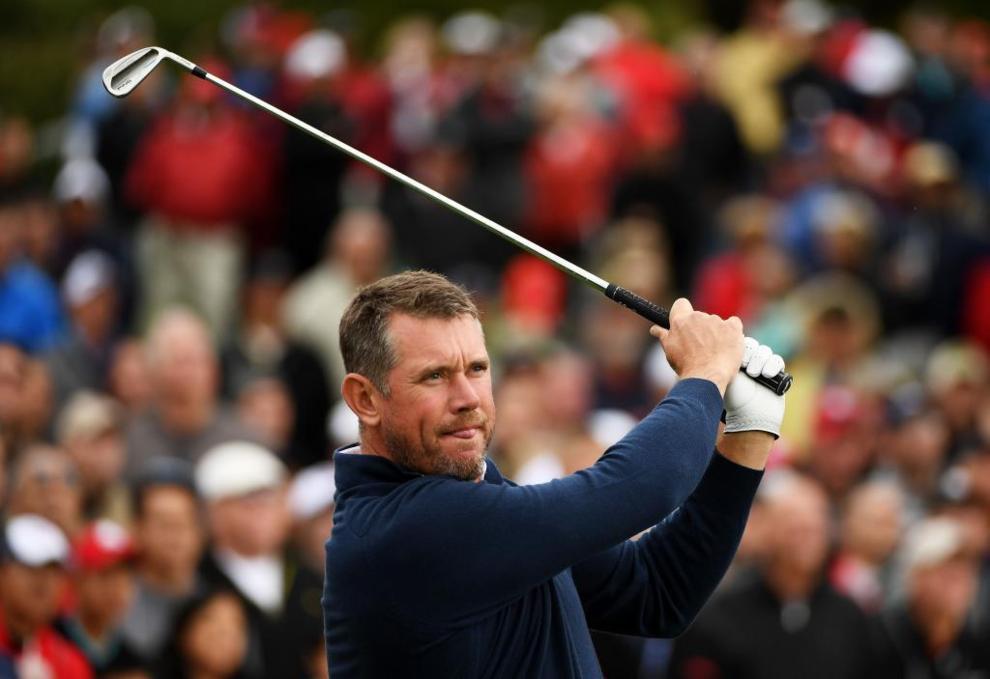 Lee Westwood, el golfista británico apoyando al equipo europeo.