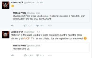 Relaci�n de Tweets entre la cuenta oficial del Valencia y Mat�as...