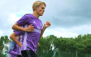 �degaard, en un entrenamiento con el Real Madrid.