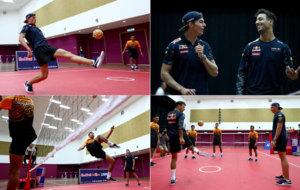 Los pilotos de Red Bull practicaron el Sepak takraw, deporte...