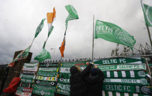 Celtic scarves on sale outside the stadium before the match against...