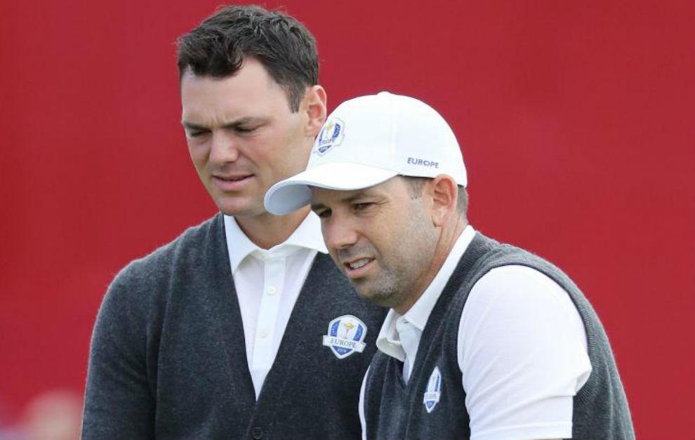 Sergio García y Martin Kaymer, durante una vuelta de prácticas en...