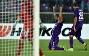 Maura Z�rate tras marcar uno de los goles ante el Qarabag