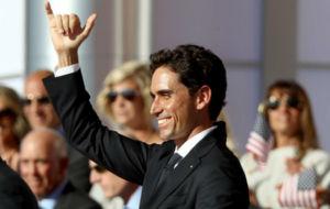 Rafael Cabrera-Bello, el jueves durante la ceremonia de presentación...