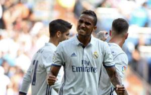 Danilo celebra un gol esta temporada con el Real Madrid