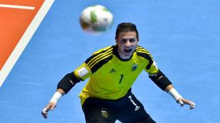 Nico Sarmiento, durante un partido con Argentina en el Mundial.