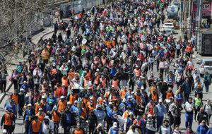 Imagen de los fieles que peregrinan hacia Luj�n.