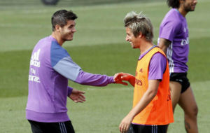 Coentrao y Morata en un entrenamiento
