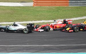 Rosberg, Vettel y Verstappen, en el incidente
